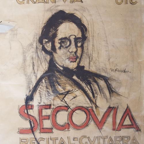 Marià Andreu Estany - Dibuix preparatori per al cartell «Segovia / recital de guitarra» a les Galeries Laietanes - 1916