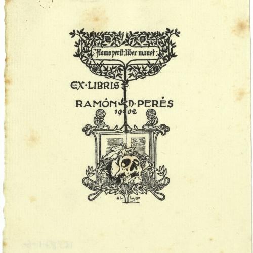 Alexandre de Riquer - Ex-libris Ramón D. Perés - 1902