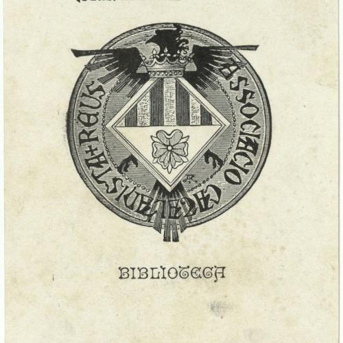 Alexandre de Riquer - Ex-libris Associacio Catalanista Reus. Biblioteca - 1904