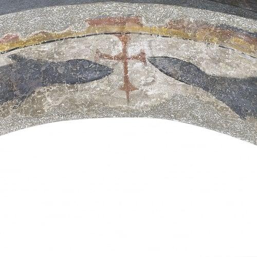 Mestre del Judici Final - Peixos flanquejant una creu de Santa Maria de Taüll - Després de 1123