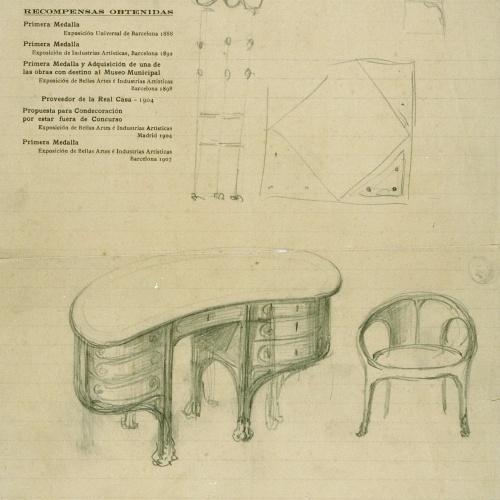 Joan Busquets - Taula i cadira de despatx - Cap a 1907