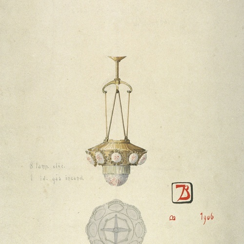 Joan Busquets - Llum, vista frontal i de secció - 1906