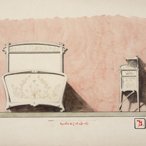Joan Busquets - Llit i tauleta de nit - 1899