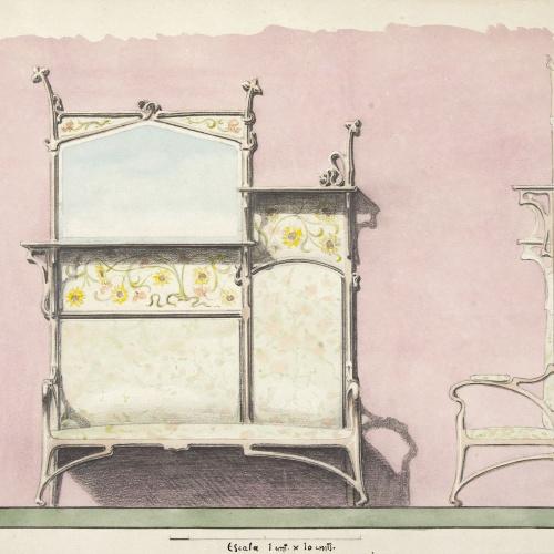 Joan Busquets - Sofà amb prestatges i mirall - 1899