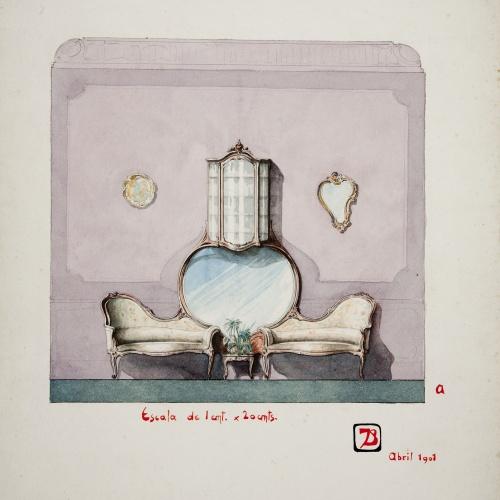 Joan Busquets - Sofà amb mirall i vitrina - 1901