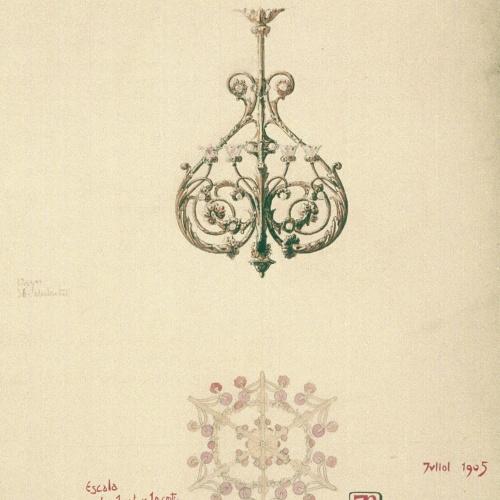 Joan Busquets - Llum, vista frontal i de secció - 1905