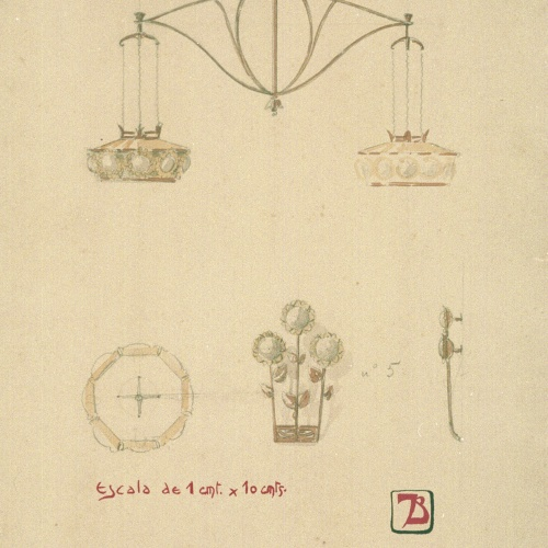 Joan Busquets - Llum, vista frontal, de secció i detalls - 1905