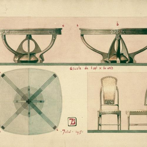 Joan Busquets - Mesa y silla - 1905