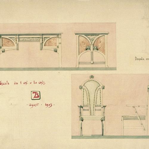 Joan Busquets - Taula i cadira, vista frontal i de perfil - 1905