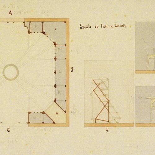 Joan Busquets - Plànol, cadira i taula - 1908