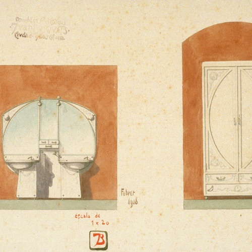 Joan Busquets - Lavabo i armari - 1908