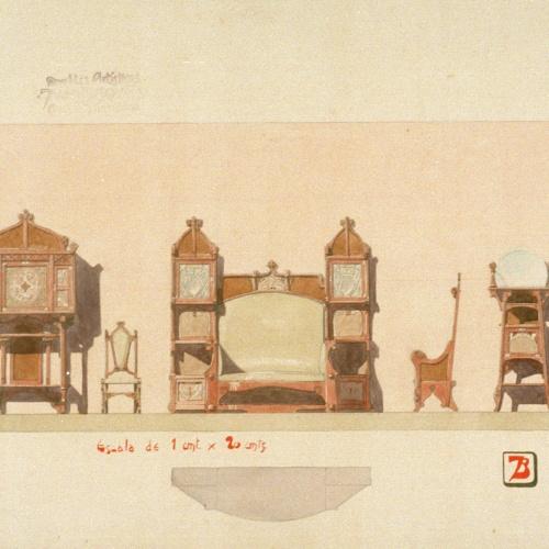 Joan Busquets - Arquimesa, silla, escaño, butaca y tocador - 1908