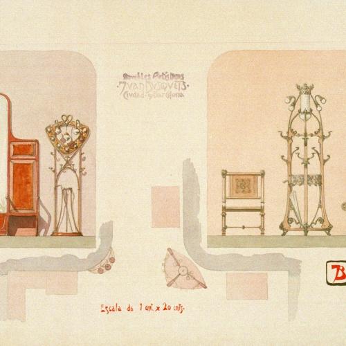 Joan Busquets - Paraigüer, penja-robes, butaques i mirall - 1908