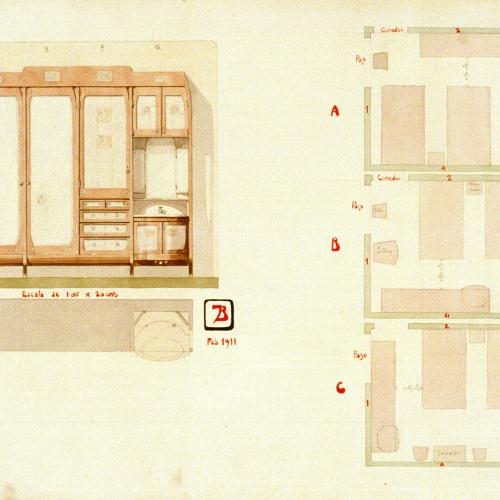 Joan Busquets - Armari amb  lavabo i diversos plànols per al disseny d'una habitació - 1911