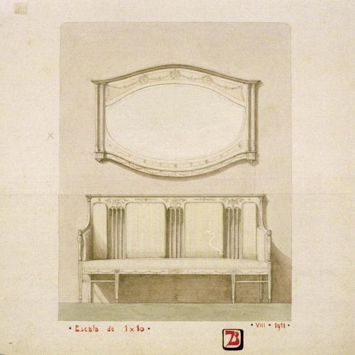 Joan Busquets - Sofà i mirall - 1911