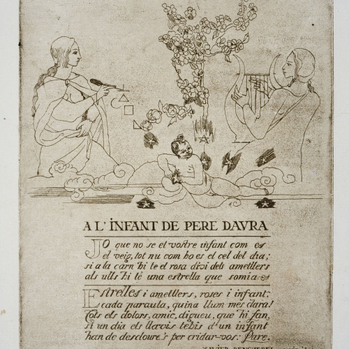Pere Daura - Il·lustració per a la poesia de Xavier Benguerel dedicada al naixement de Martha Daura - 1931