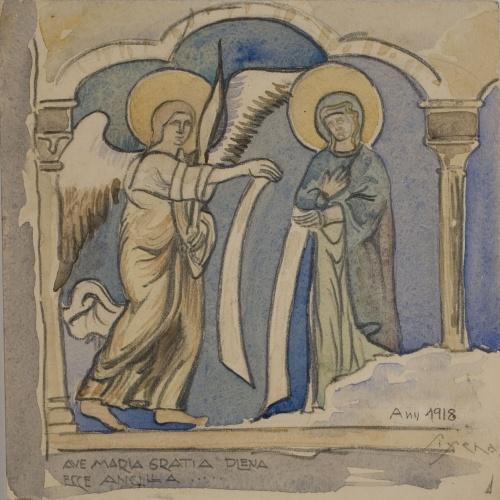 Lluís Domènech i Montaner - Còpia de les pintures de Sixena: Anunciació - 1918