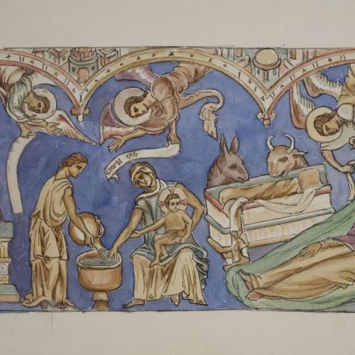 Lluís Domènech i Montaner - Còpia de les pintures de Sixena: Naixement - 1918
