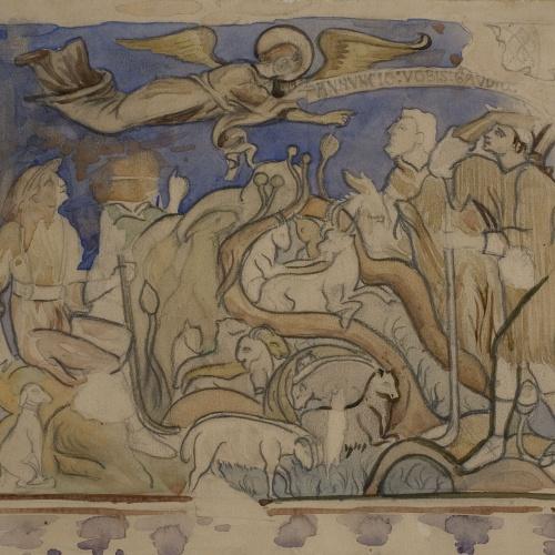Lluís Domènech i Montaner - Còpia de les pintures de Sixena: Anunciació als pastors - 1918