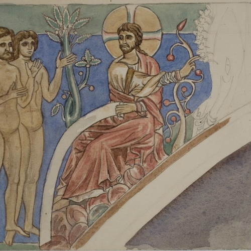 Lluís Domènech i Montaner - Còpia de les pintures de Sixena: Déu introdueix Adam i Eva en el Paradís - 1918