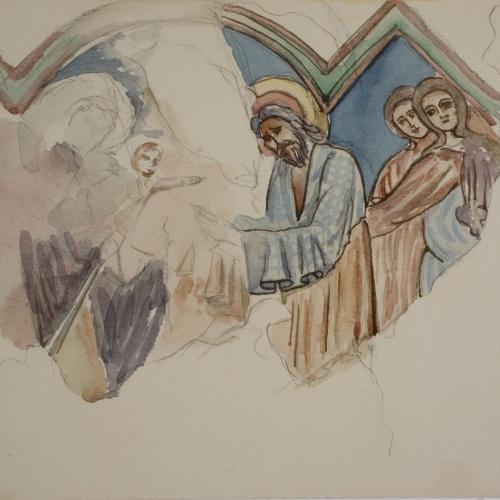 Lluís Domènech i Montaner - Còpia de les pintures de Sixena: Presentació al temple - 1918