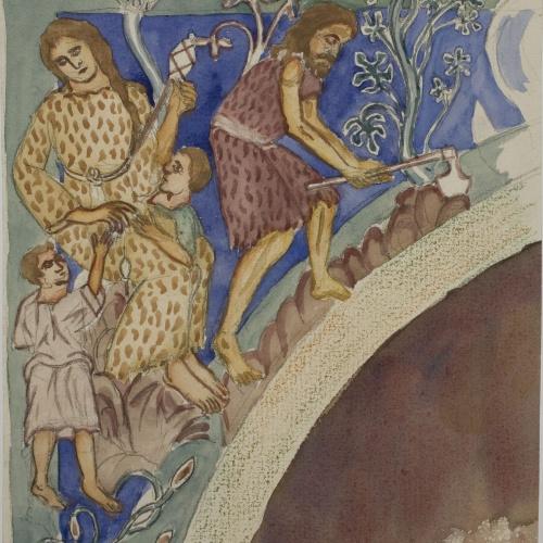 Lluís Domènech i Montaner - Còpia de les pintures de Sixena: Treball d'Adam i Eva - 1918