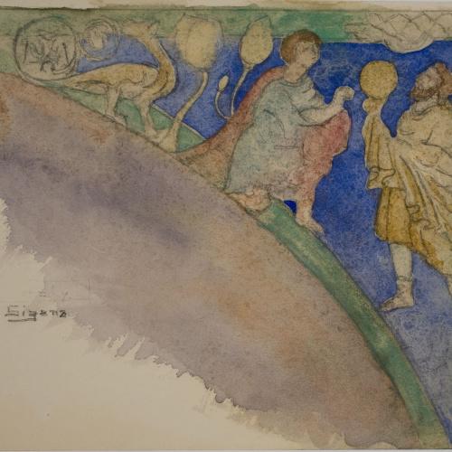 Lluís Domènech i Montaner - Còpia de les pintures de Sixena: Les ofrenes de Caïm i Abel - 1918