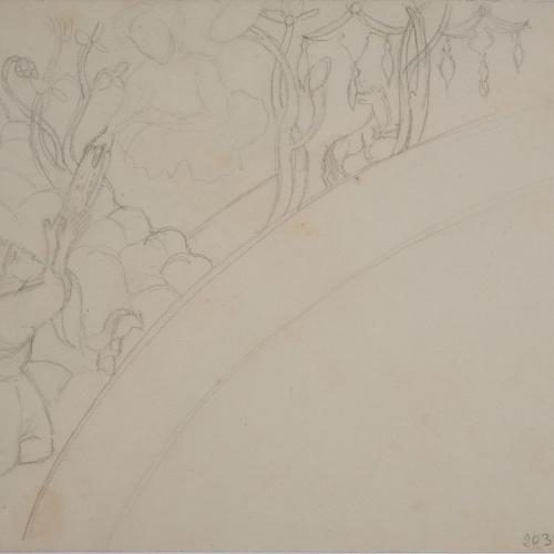 Lluís Domènech i Montaner - Còpia a llapis de les pintures de Sixena: Déu lliura a Moisès les taules de la llei - 1918