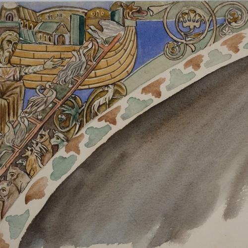 Lluís Domènech i Montaner - Còpia de les pintures de Sixena: Entrada d'animals a l'arca de Noè - 1918
