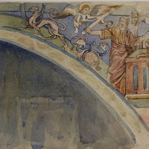Lluís Domènech i Montaner - Còpia de les pintures de Sixena: Sacrifici d'Isaac - 1918