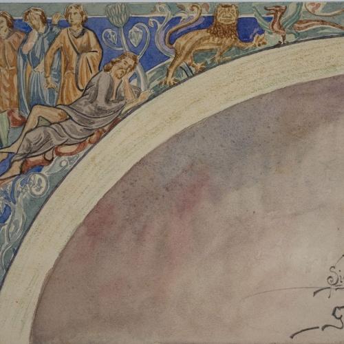 Lluís Domènech i Montaner - Còpia de les pintures de Sixena: Embriaguesa de Noè - 1918