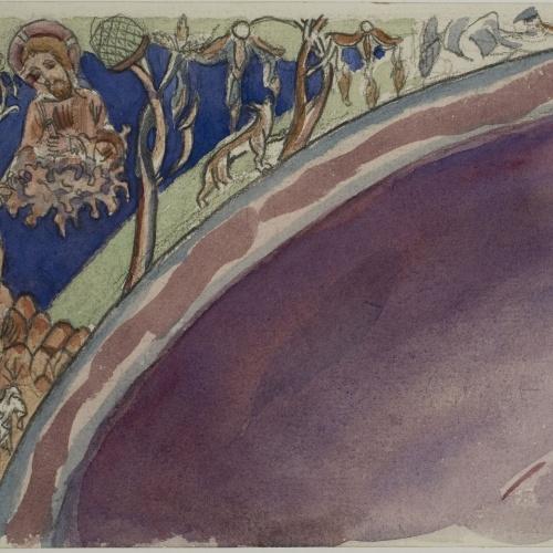 Lluís Domènech i Montaner - Còpia de les pintures de Sixena: Déu lliura les taules de la Llei a Moisés - 1918