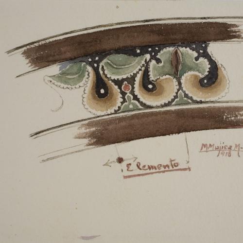 Lluís Domènech i Montaner - Còpia de les pintures de Sixena: Sanefa - 1918