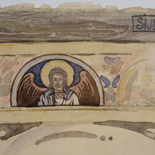 Lluís Domènech i Montaner - Còpia de les pintures de Sixena: Fris amb àngel - 1918