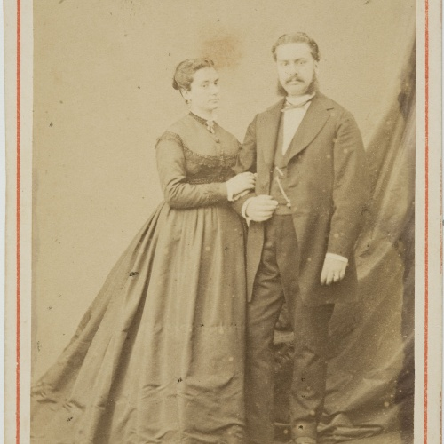 Fotografía Franco Hispano Americano. Barcelona - Portrait of a man and a woman - Circa 1860