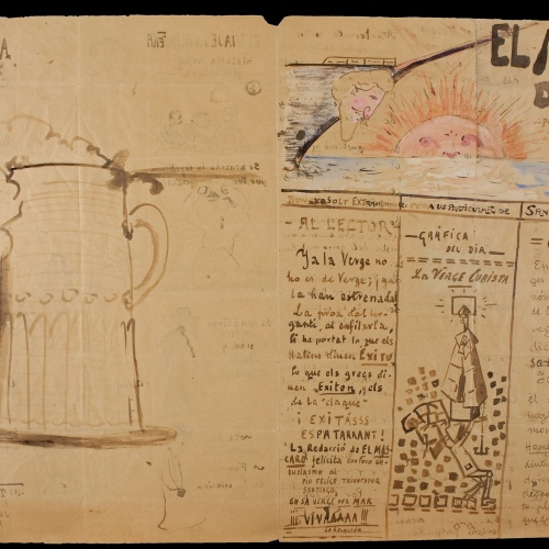 Santiago Rusiñol - El mascaró de proa. Capçalera il·lustrada i manuscrita (anvers) / El mascaró de proa. Interior il·lustrat i manuscrit (revers) - Cap a 1917