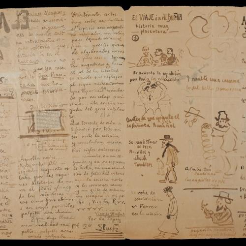 Santiago Rusiñol - El mascaró de proa. Capçalera il·lustrada i manuscrita (anvers) / El mascaró de proa. Interior il·lustrat i manuscrit (revers) - Cap a 1917 [1]