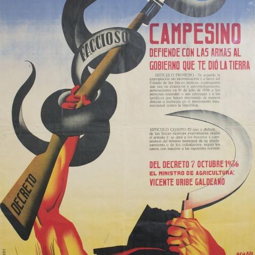 Josep Renau - Campesino, defiende con las armas al Gobierno que te dió la tierra - 1936