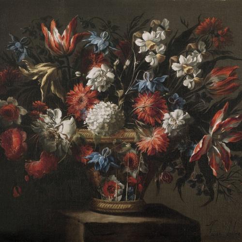 Juan de Arellano - Basket of flowers - Circa 1670