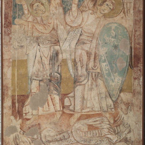 Anònim. Castella - Angels fighting the dragon, from Tubilla del Agua - First half of the 12th century