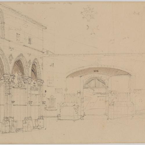 Adolphe Hedwige Alphonse Delamare - Portal i església de Sant Antoni a Barcelona - 10 de novembre de 1827