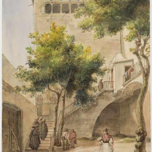 Adolphe Hedwige Alphonse Delamare - Pati de la Casa de l'Ardiaca a Barcelona - Agost de 1827