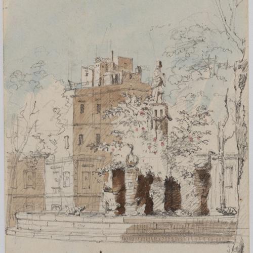 Adolphe Hedwige Alphonse Delamare - Font d'Aretusa al Passeig Nou o de l'Esplanada a Barcelona - Novembre de 1827