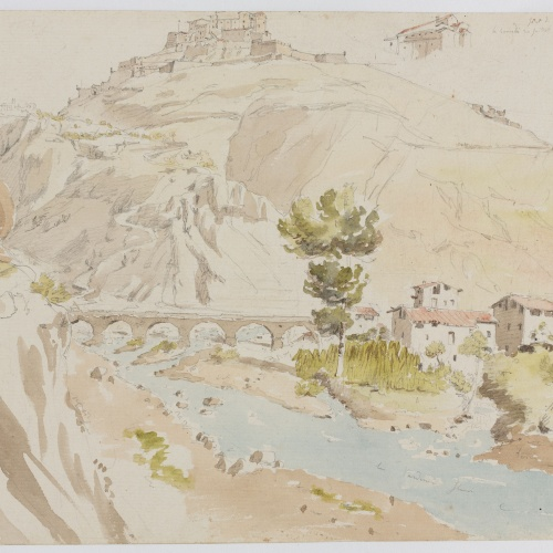 Adolphe Hedwige Alphonse Delamare - Vista de Cardona i del Pont de la Coromina - Dissabte 30 de juliol de 1825