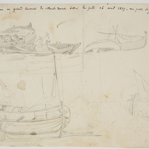 Adolphe Hedwige Alphonse Delamare - Boat sketches and working fichermen sketches - Circa 1827