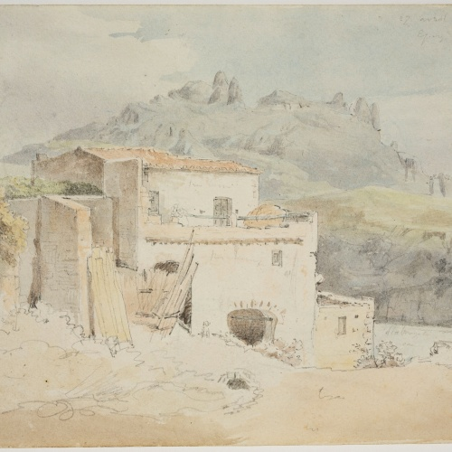 Adolphe Hedwige Alphonse Delamare - Vista de Montserrat des d'Esparreguera - 27 d'abril de 1827