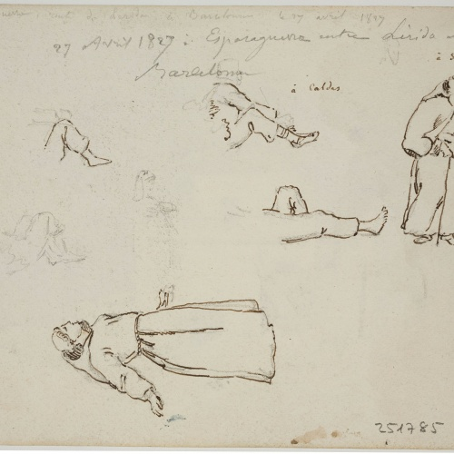 Adolphe Hedwige Alphonse Delamare - Monks and leg sketches - April 27, 1827