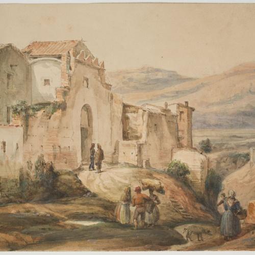 Adolphe Hedwige Alphonse Delamare - Portal de Vic a Caldes de Montbui - Cap a 1826-1827