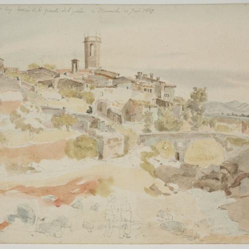 Adolphe Hedwige Alphonse Delamare - Vista de Caldes de Montbui amb el Pont (anvers) / Barca (revers) - Diumenge 10 de juny de 1827