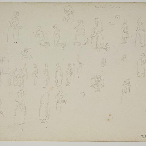 Adolphe Hedwige Alphonse Delamare - Vista de Caldes de Montbui (anvers) / Croquis de figures (revers) - Diumenge 10 de juny de 1827 [1]